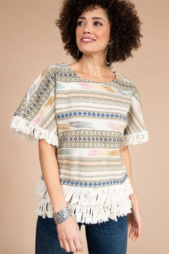 Ivy Jane  Woven Tapestry Horizontal Stripe Top with Fringe - Product List Image