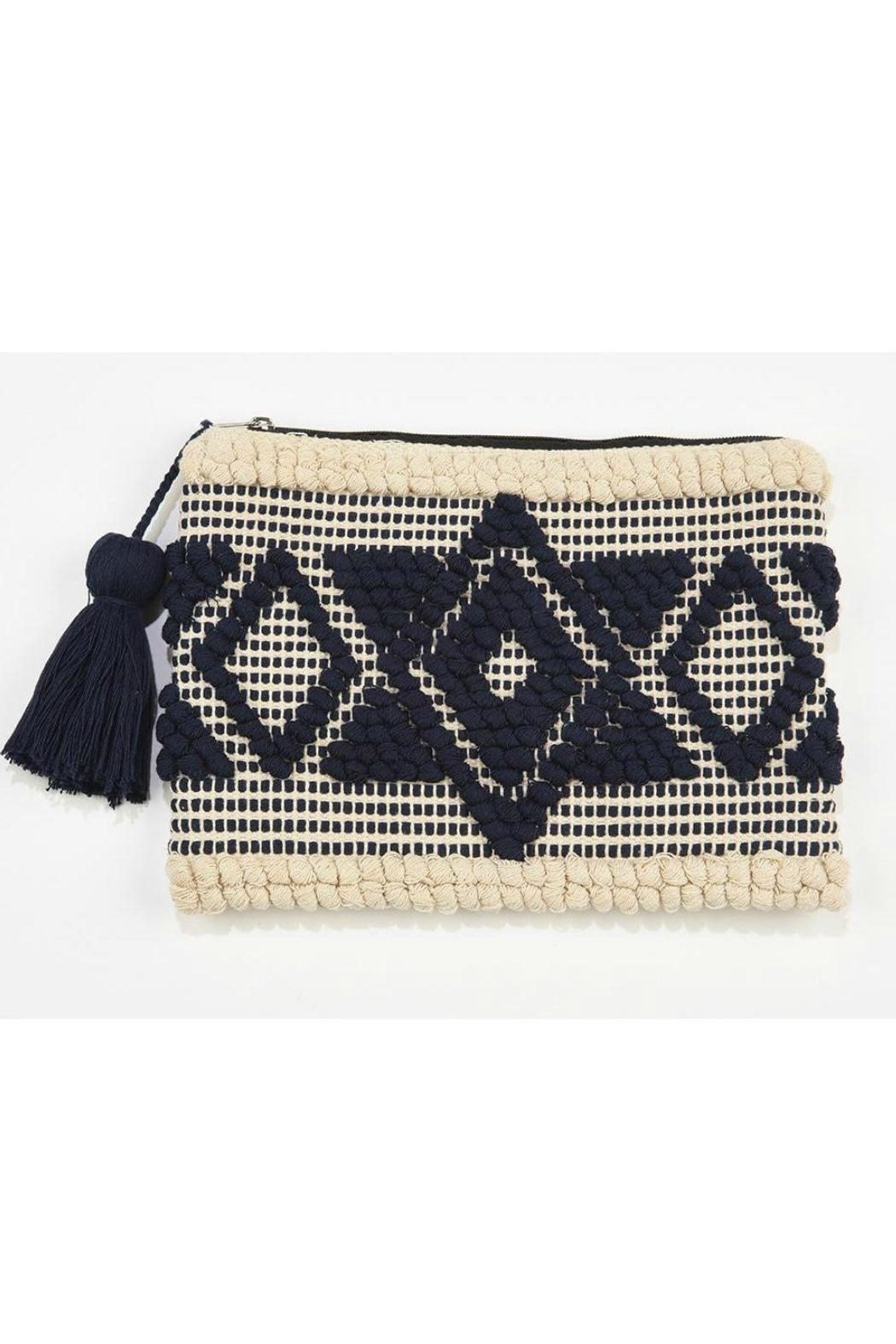 Ink + Alloy Woven Tassel Clutch - Front Cropped Image