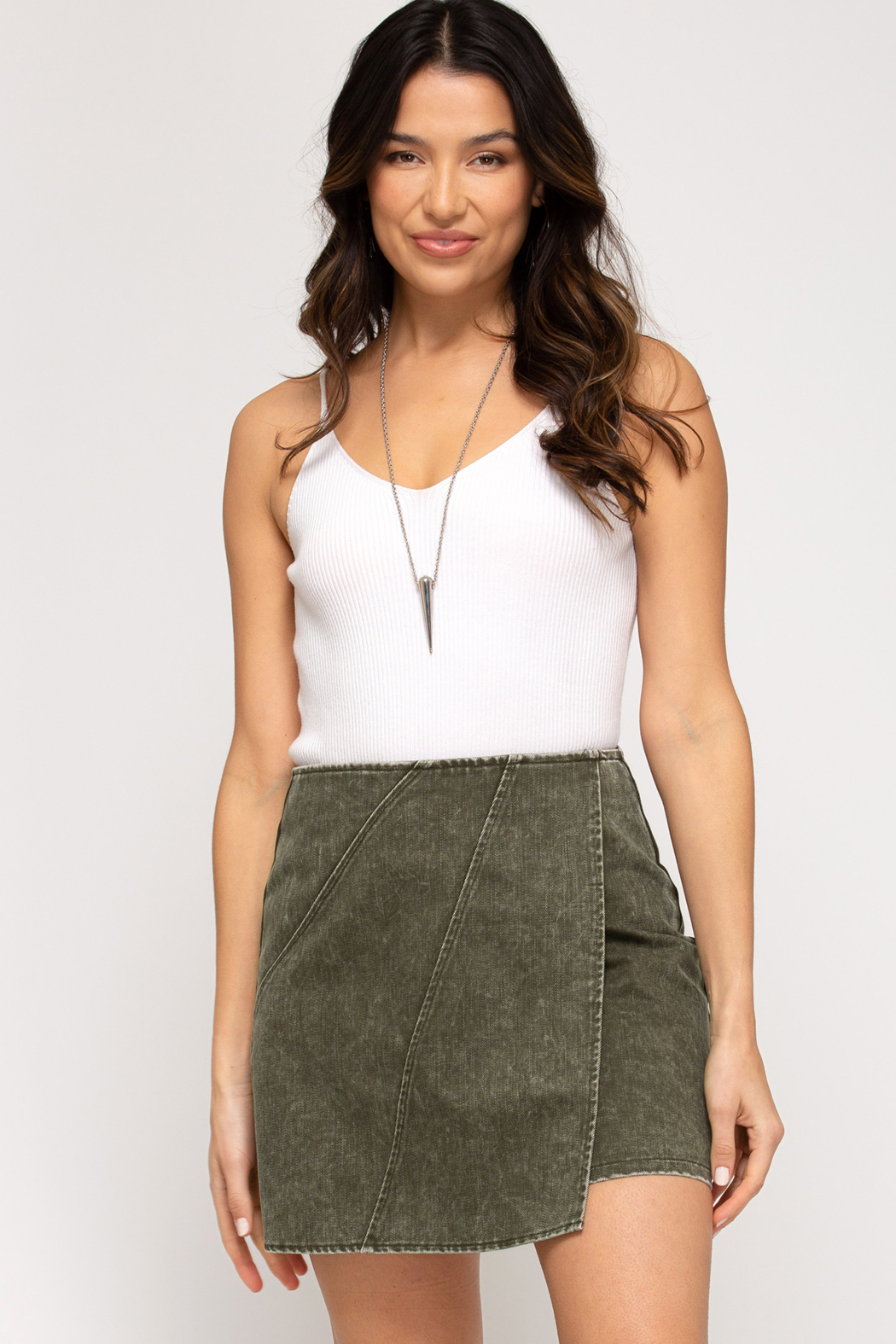 She + Sky Woven Wrap Skirt - Front Full Image