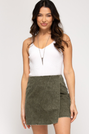 She + Sky Woven Wrap Skirt - Front full body