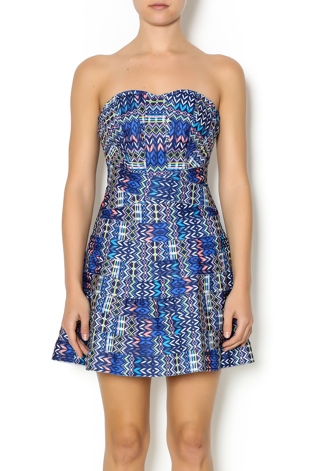 Wow Couture Blue Multi Sweetheart Dress - Main Image