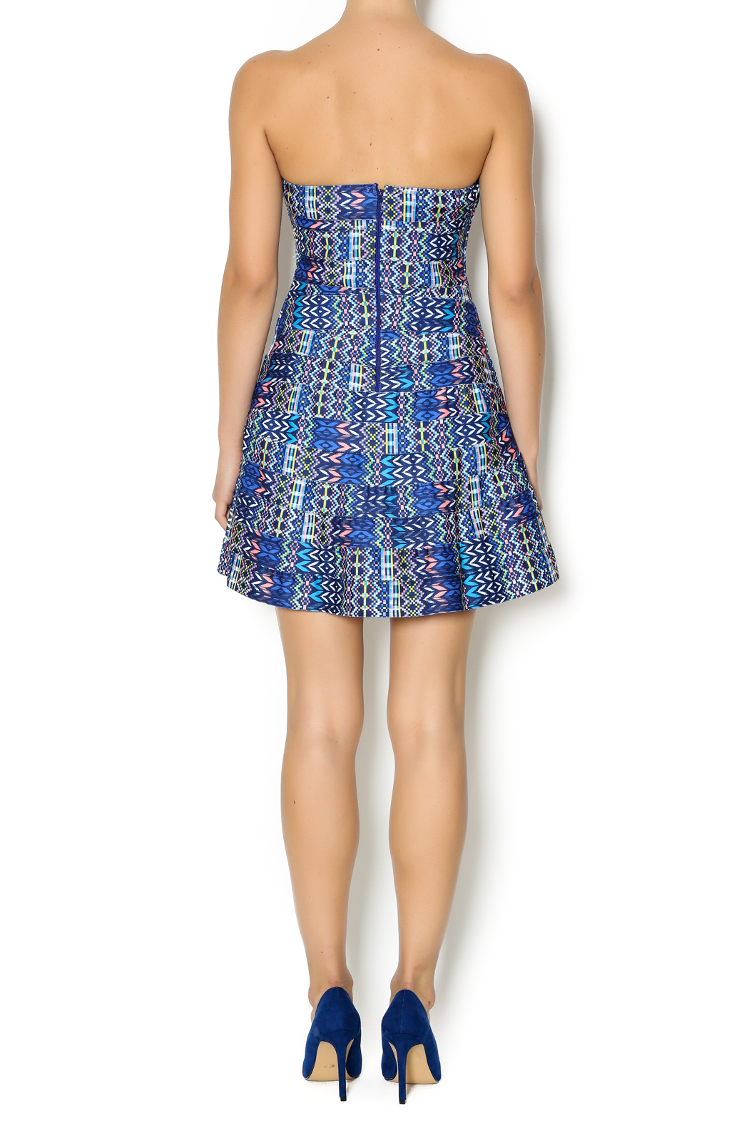 Wow Couture Blue Multi Sweetheart Dress - Side Cropped Image