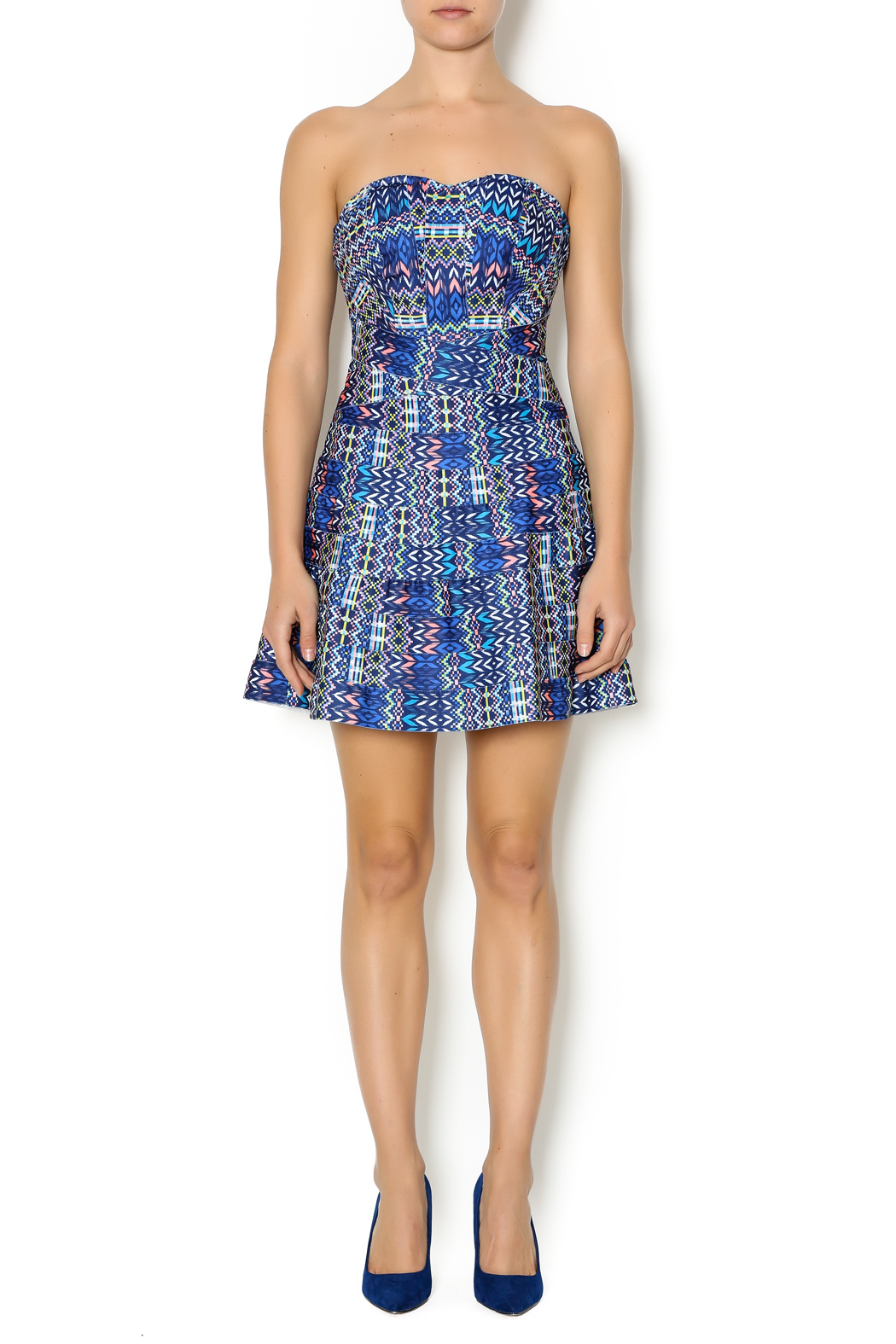 Wow Couture Blue Multi Sweetheart Dress - Front Full Image
