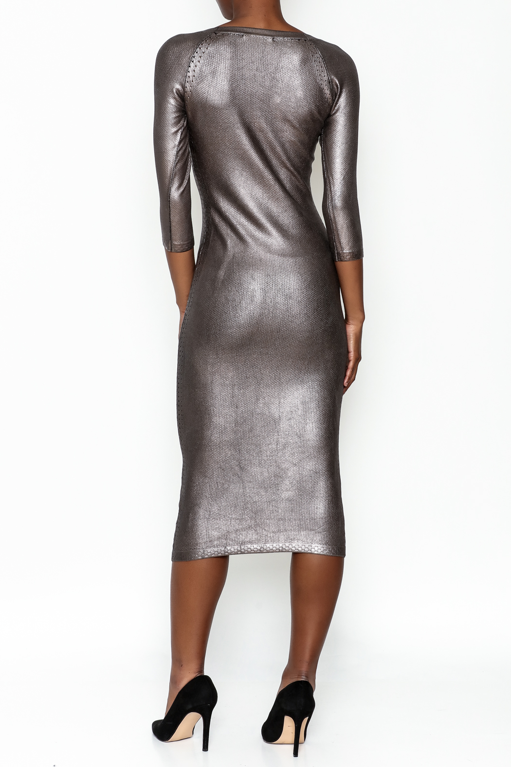 Wow Couture Gilded Bodycon Dress - Back Cropped Image