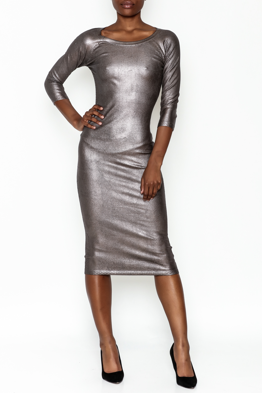 Wow Couture Gilded Bodycon Dress - Main Image
