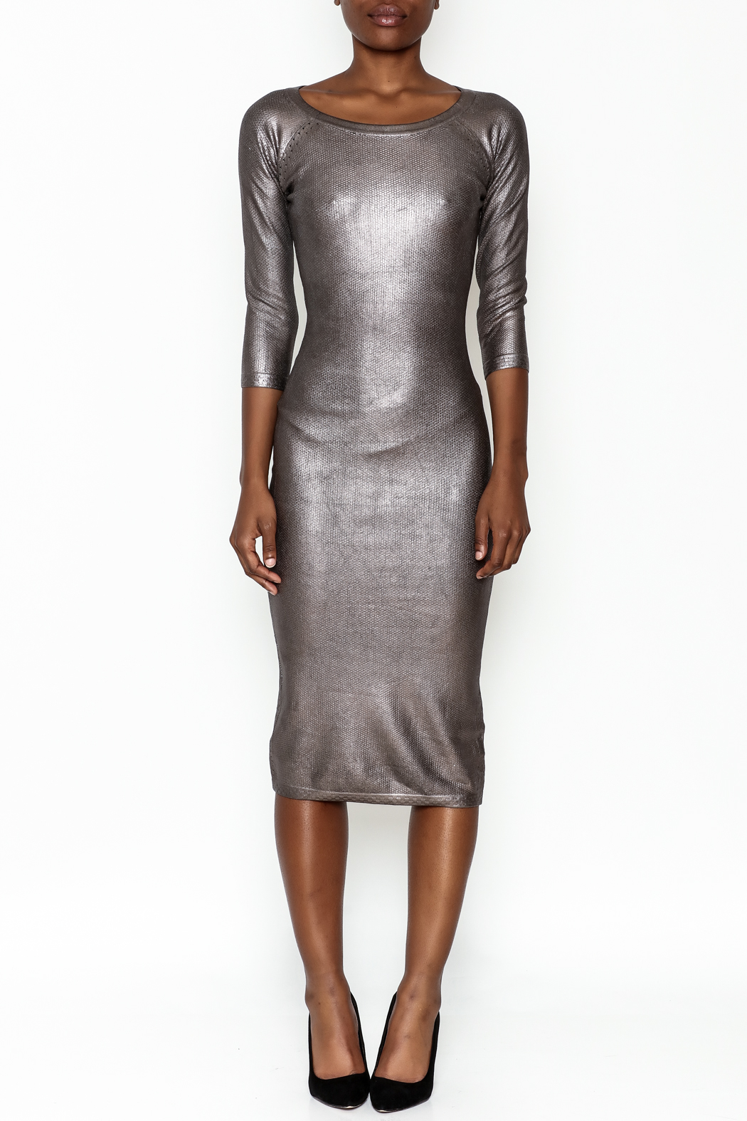 Wow Couture Gilded Bodycon Dress - Front Full Image