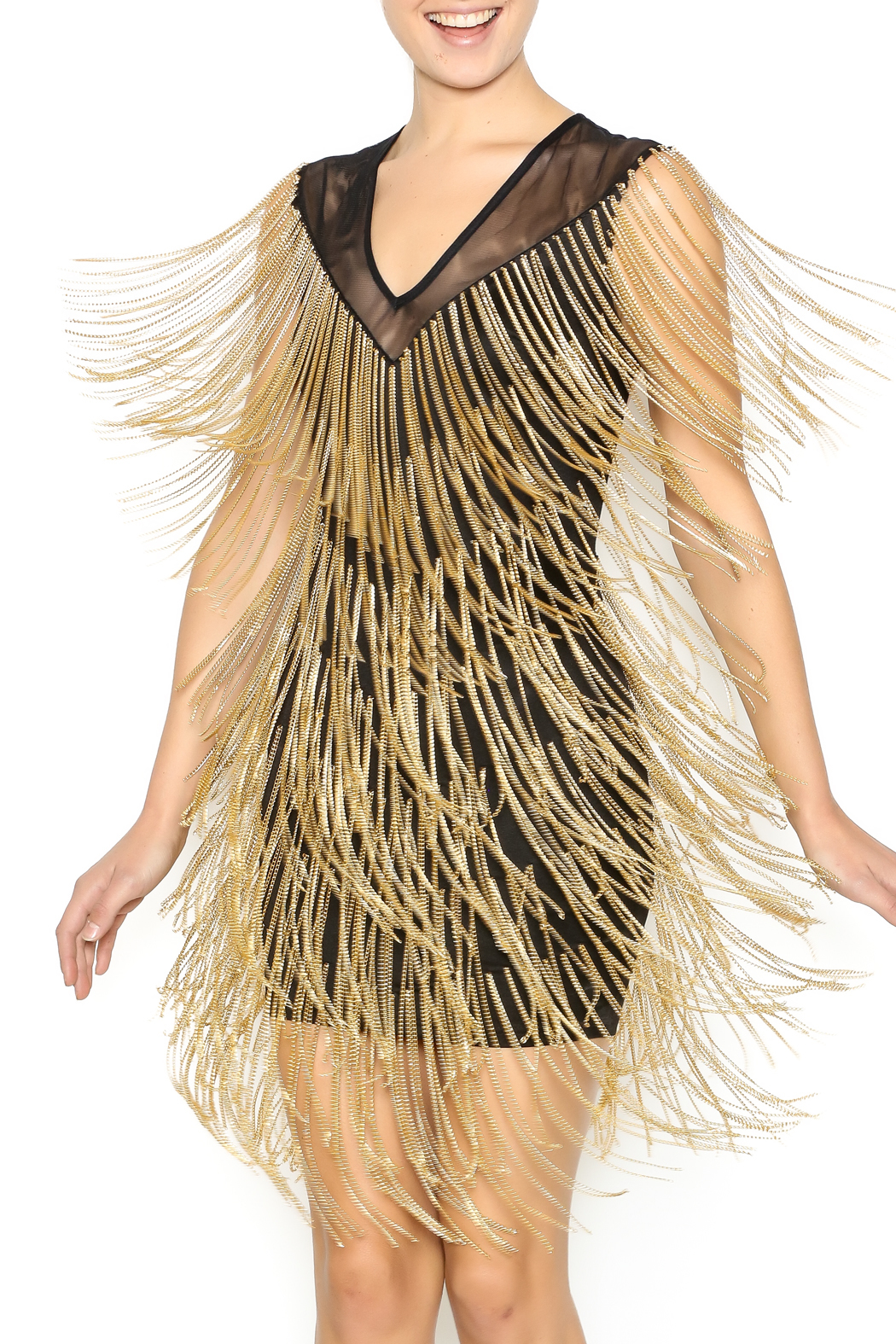Wow couture gold label all that fringe dress from for Couture labels