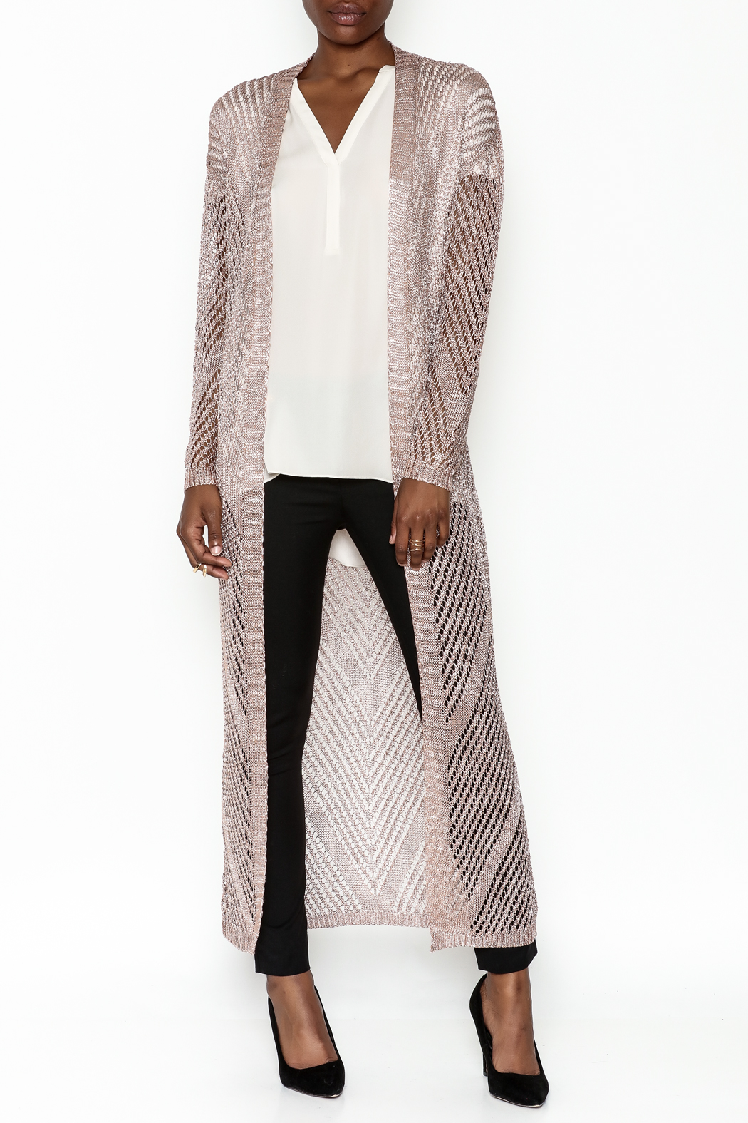 Wow Couture Metallic Threads Cardigan - Main Image