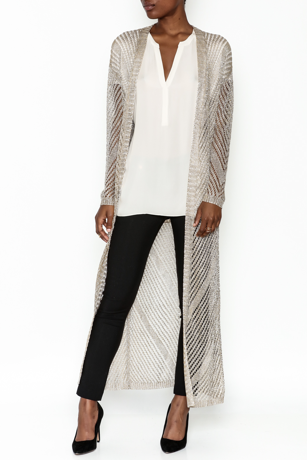 Wow Couture Metallic Threads Cardigan - Front Cropped Image