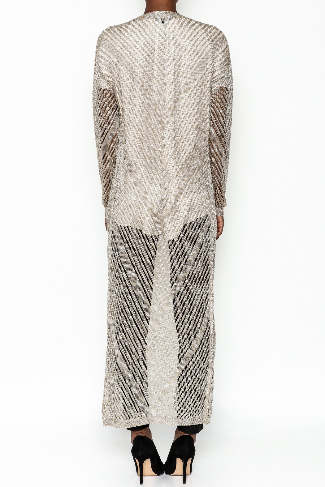 Wow Couture Metallic Threads Cardigan - Back Cropped Image