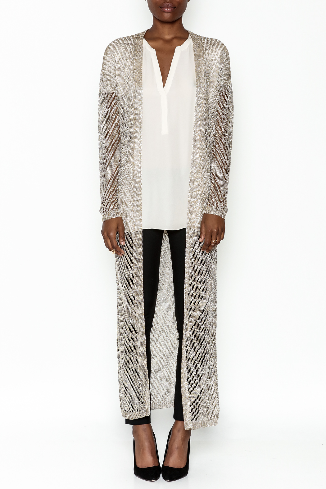 Wow Couture Metallic Threads Cardigan - Front Full Image