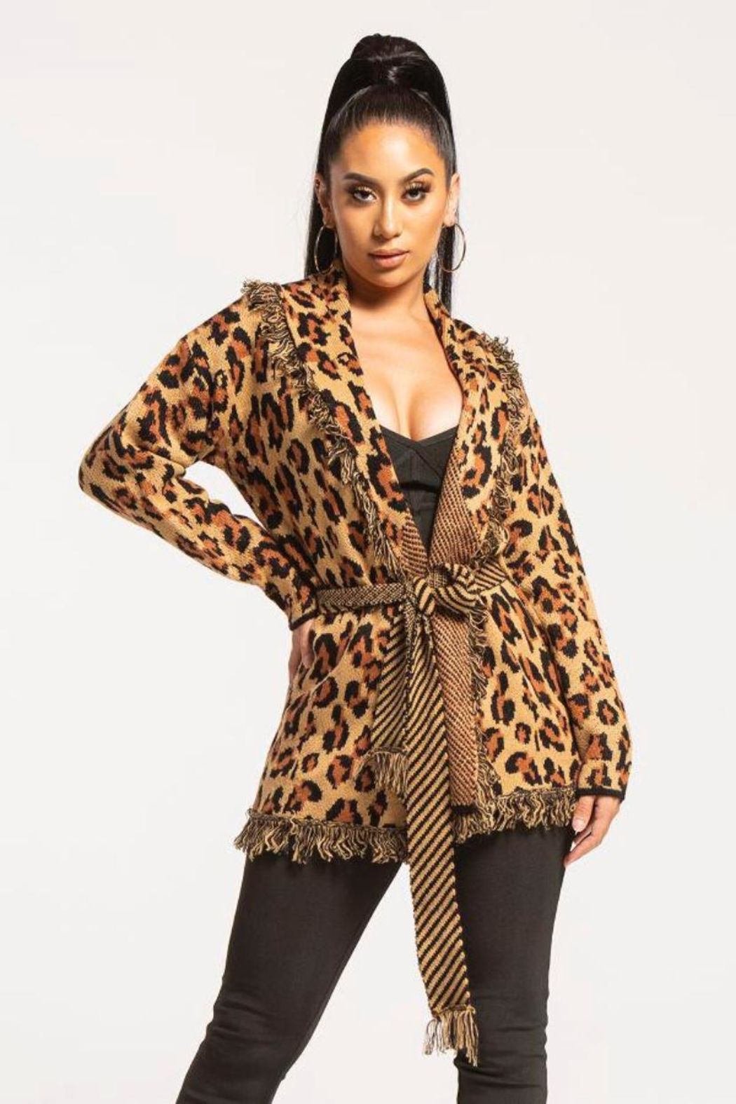 Wow Couture Fringed Leopard Cardigan - Main Image