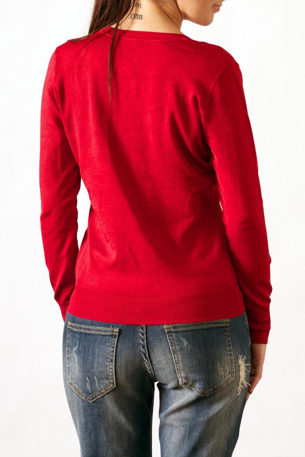 Wow Couture Luxe V-Neck Sweater - Side Cropped Image