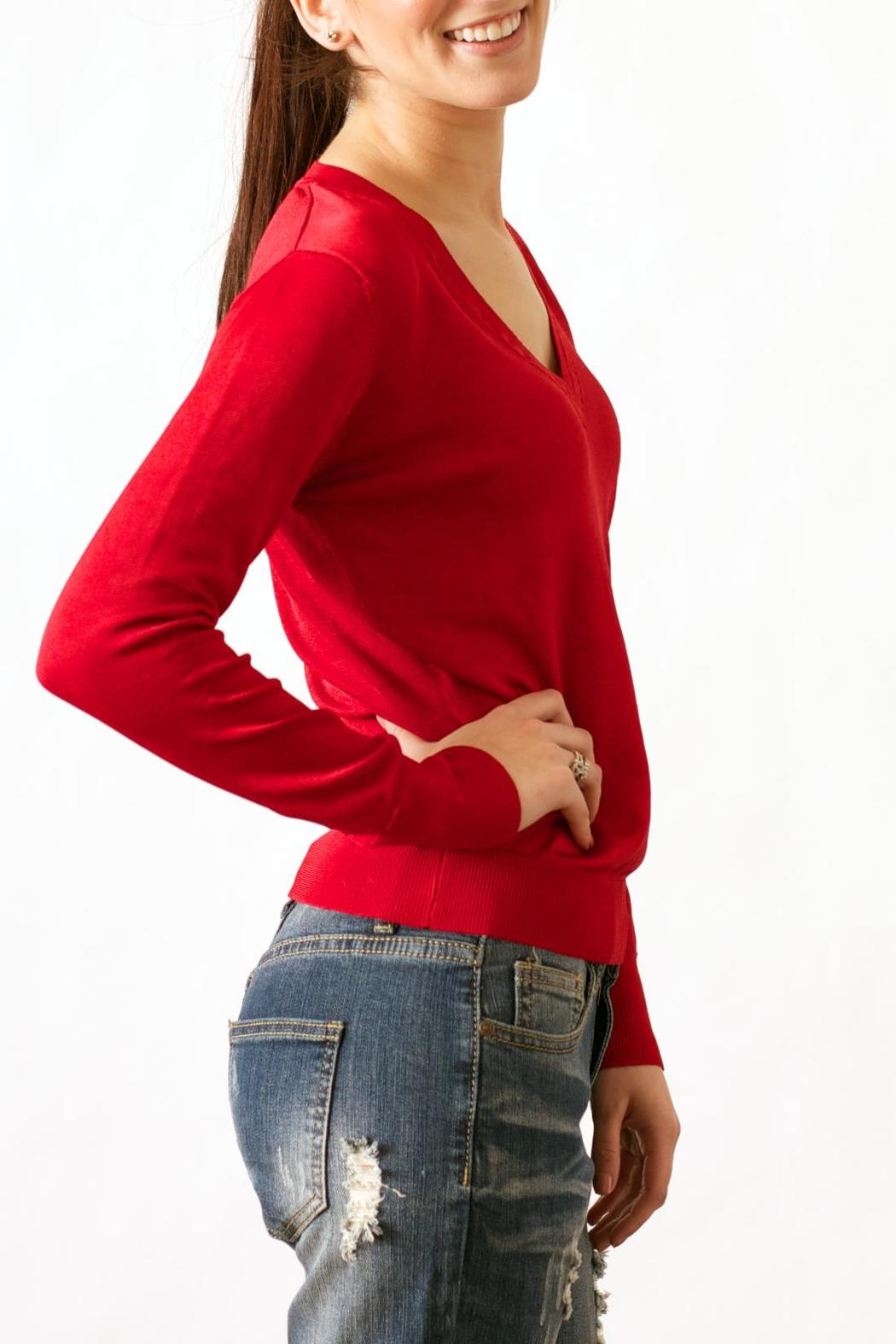 Wow Couture Luxe V-Neck Sweater - Front Full Image