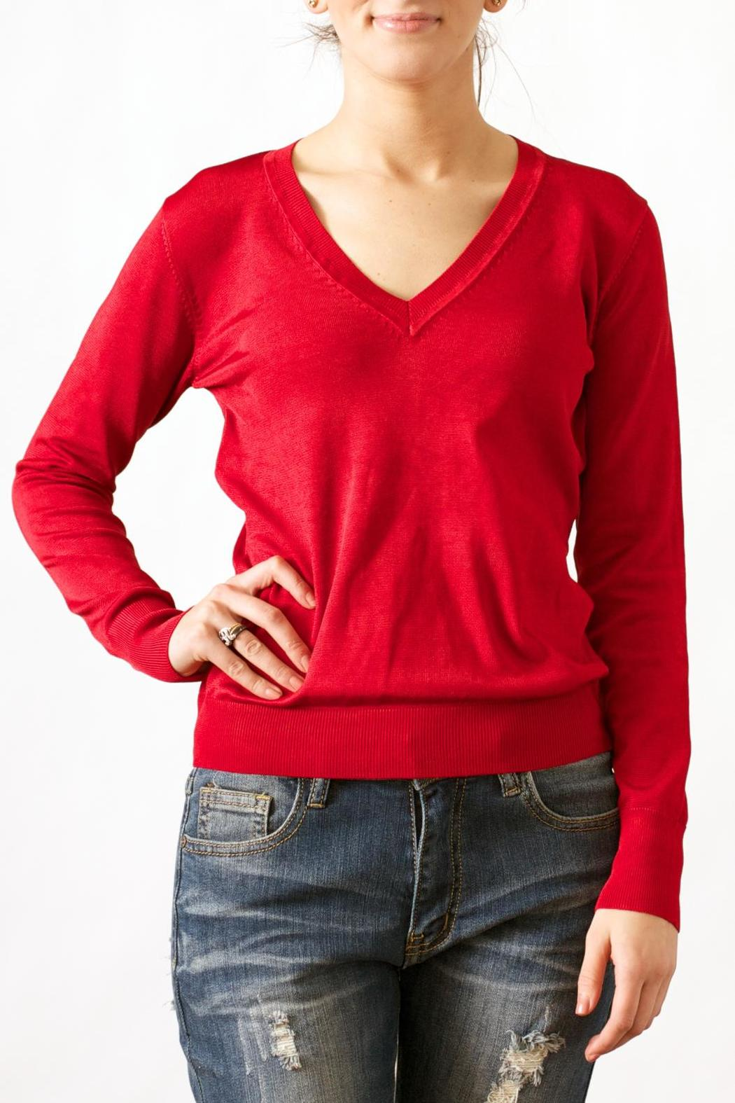 Wow Couture Luxe V-Neck Sweater - Main Image