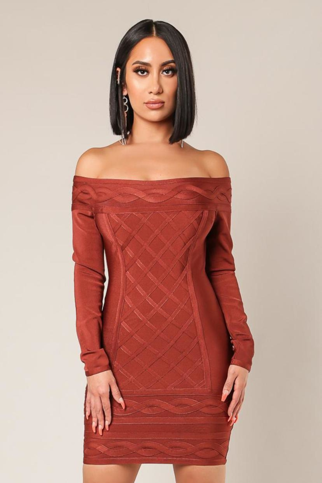 Wow Couture Off-Shoulder Bandage Dress - Main Image
