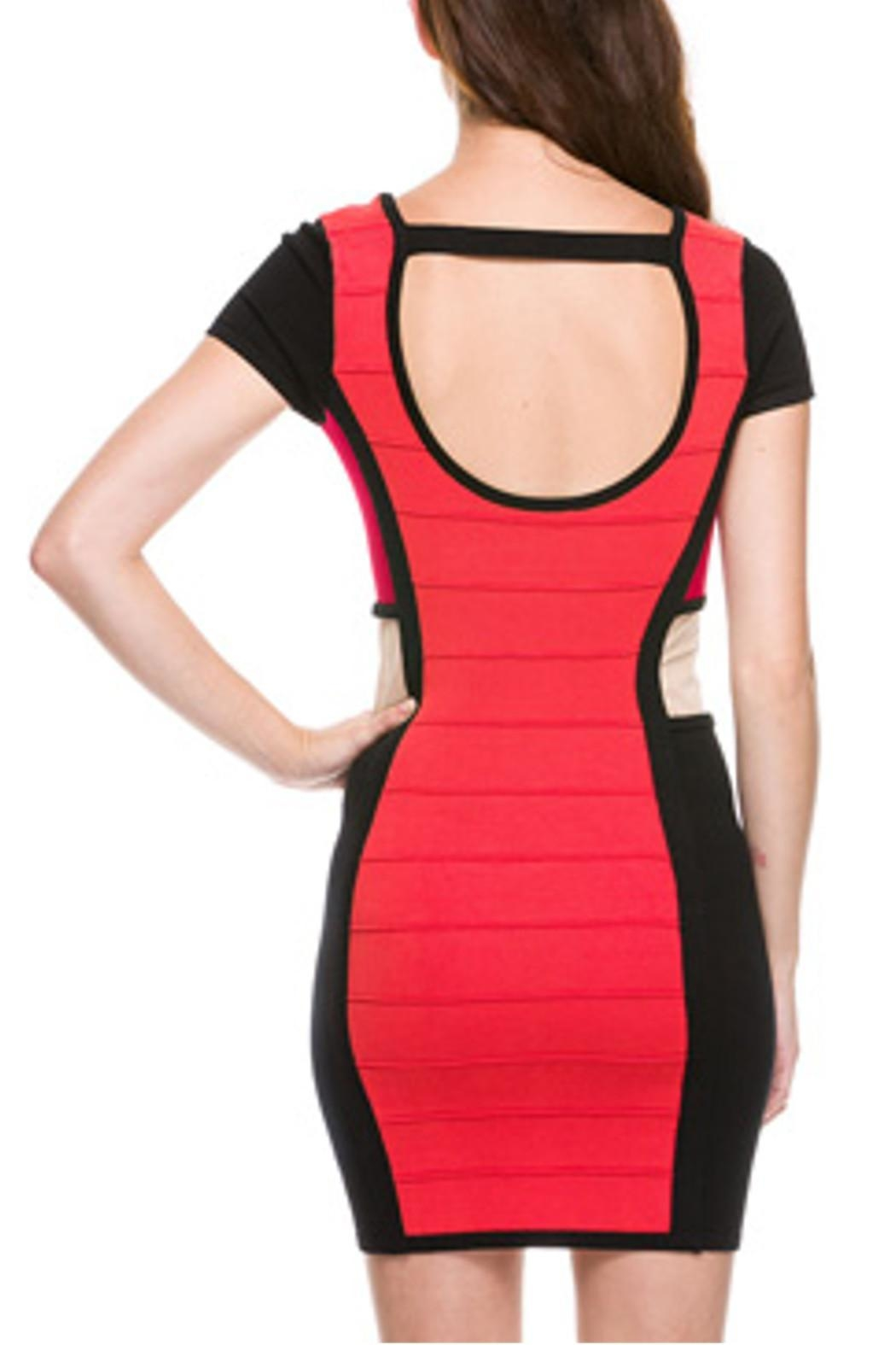 Wow Couture Rust Bandage Dress - Back Cropped Image