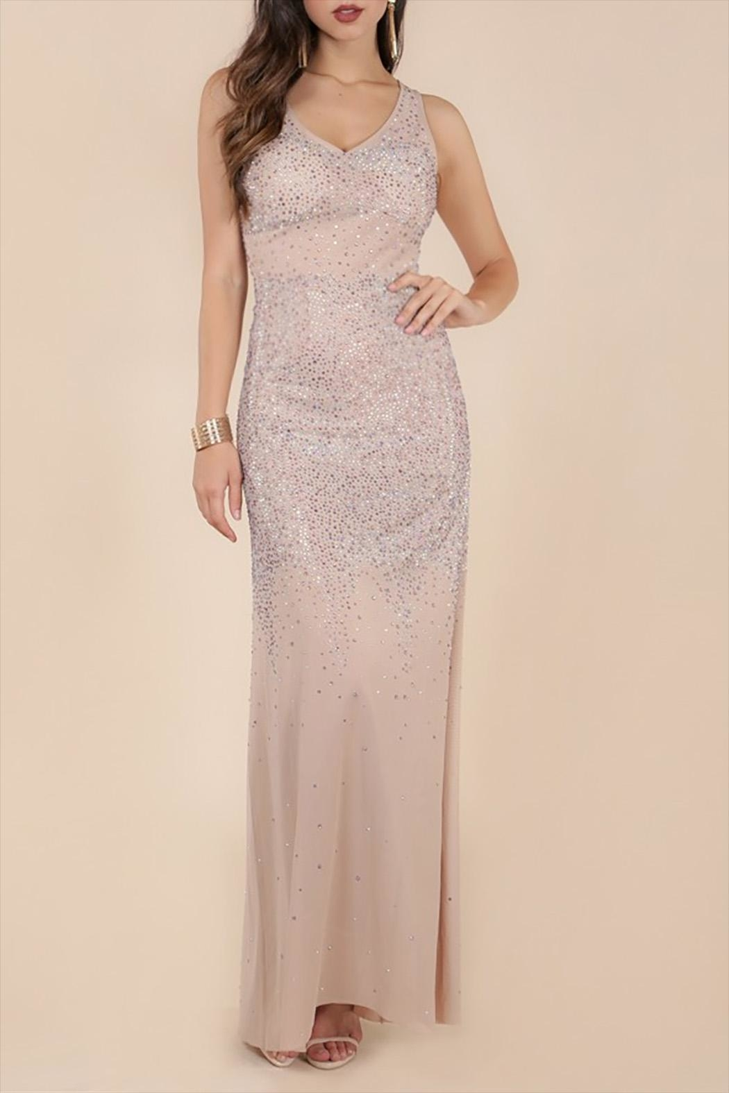 Wow Couture Rhinestones Maxi Dress - Front Cropped Image