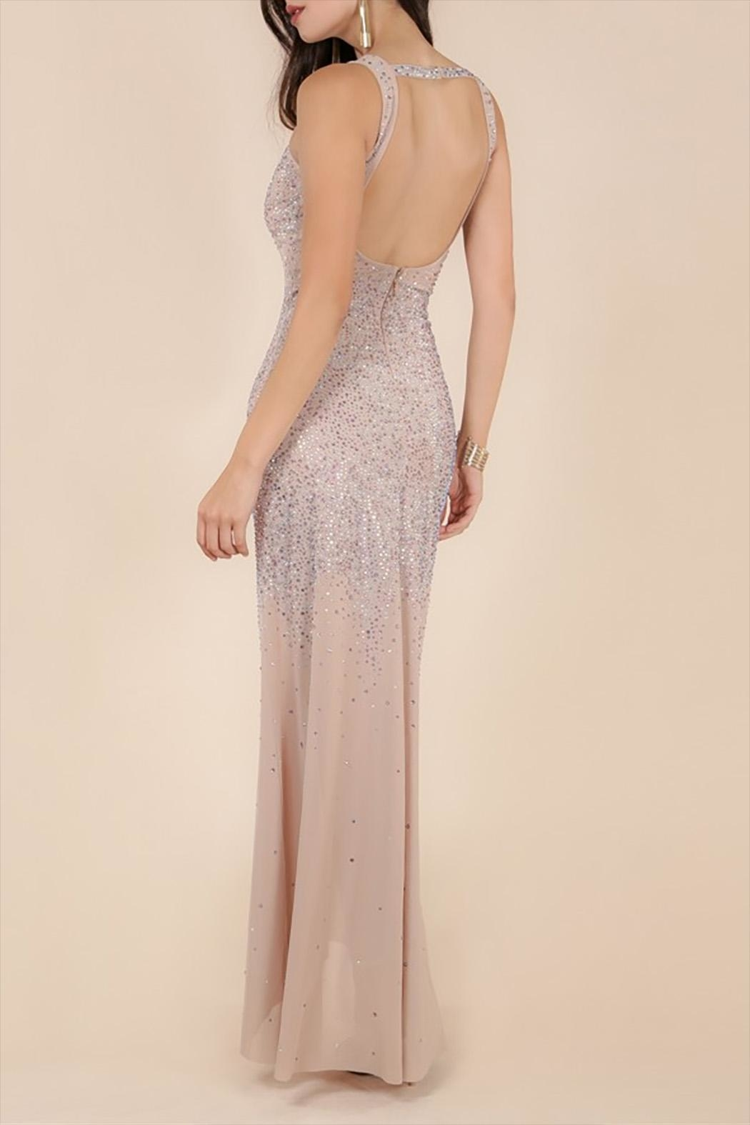 Wow Couture Rhinestones Maxi Dress - Front Full Image