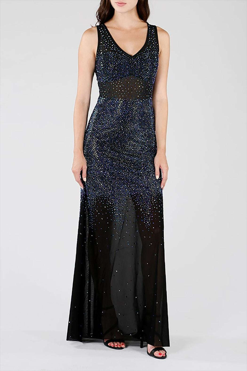 Wow Couture Rhinestones Maxi Dress - Main Image