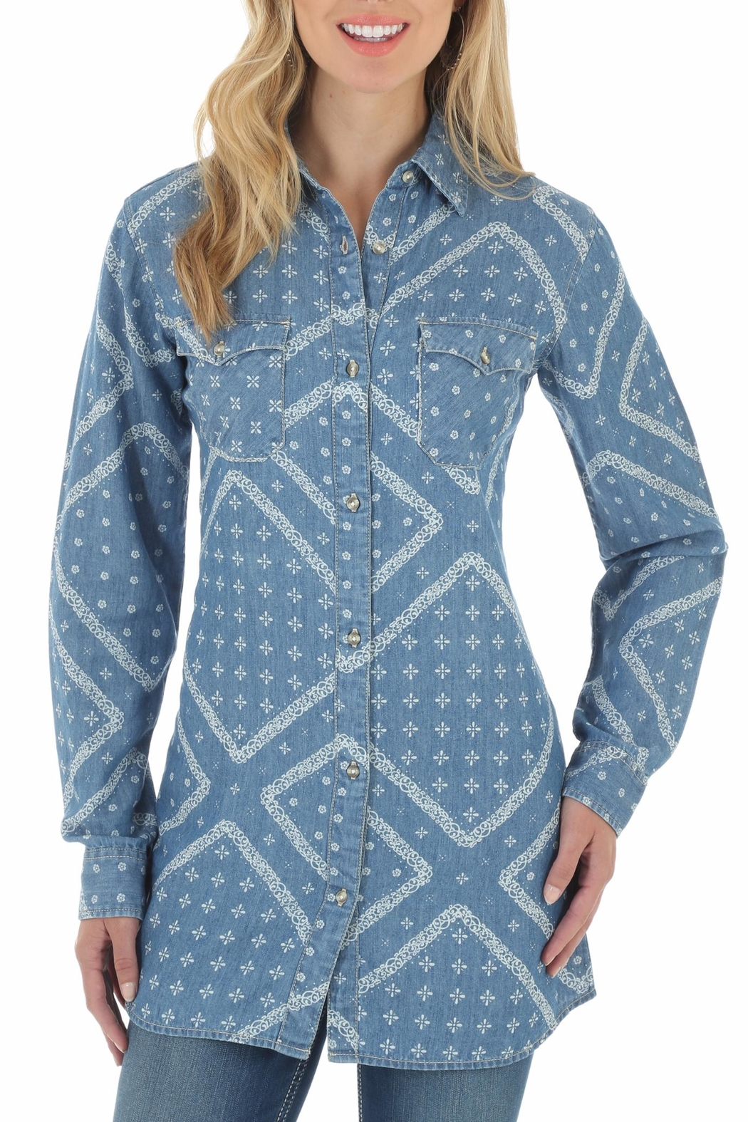 Wrangler Denim Button Front Tunic - Main Image