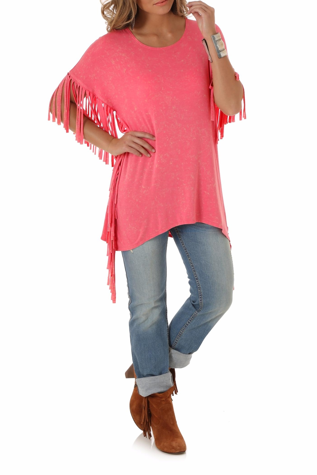 Wrangler Fringed Sleeve Top - Front Cropped Image