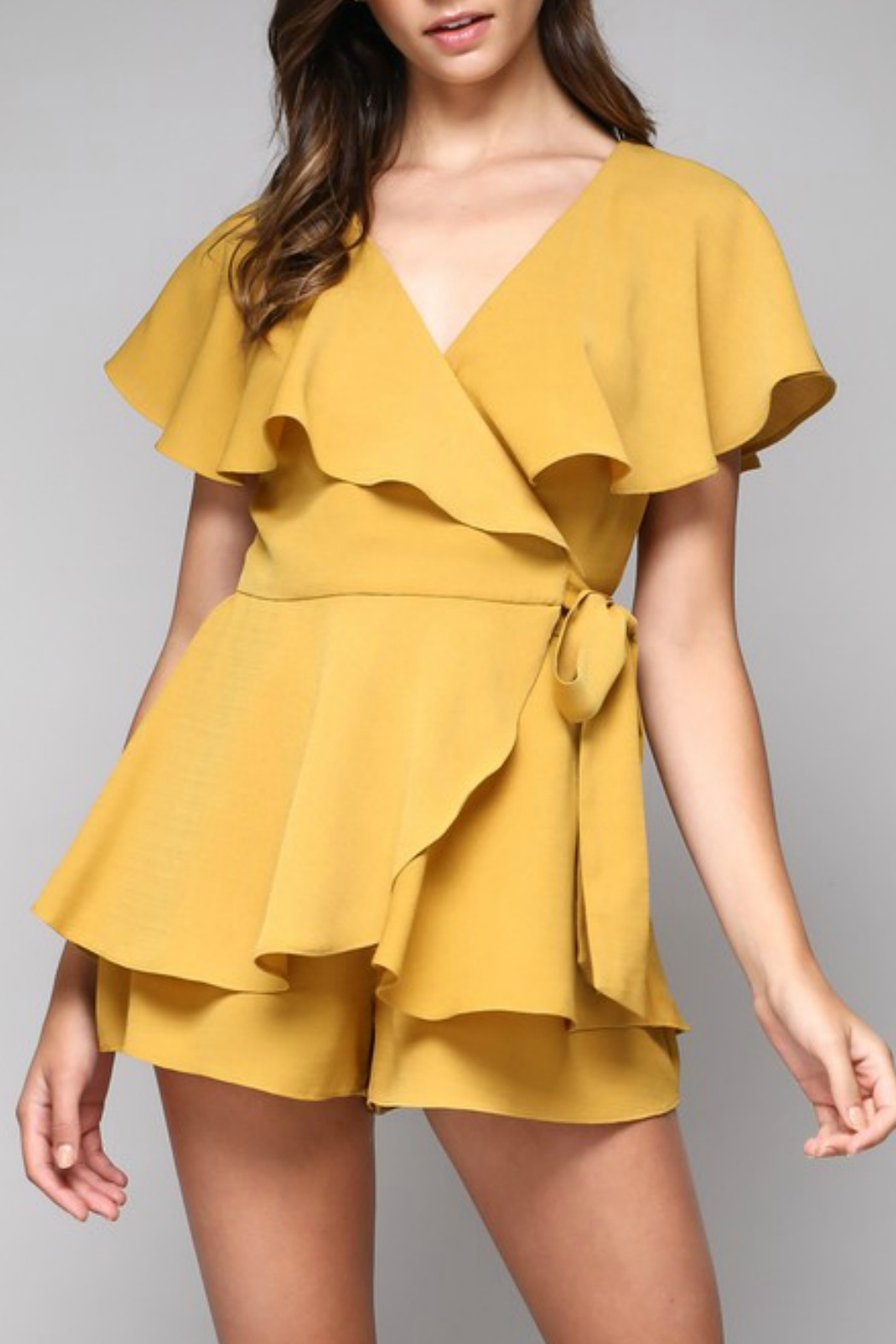 Do & Be Wrap Around Romper - Front Cropped Image