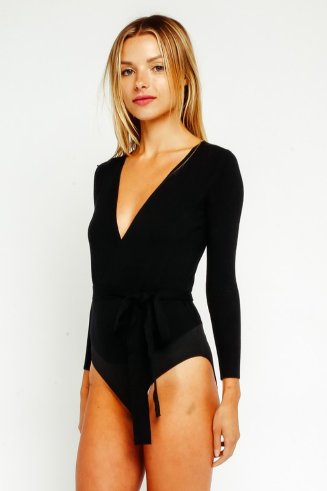 Olivaceous  Wrap Bodysuit - Side Cropped Image