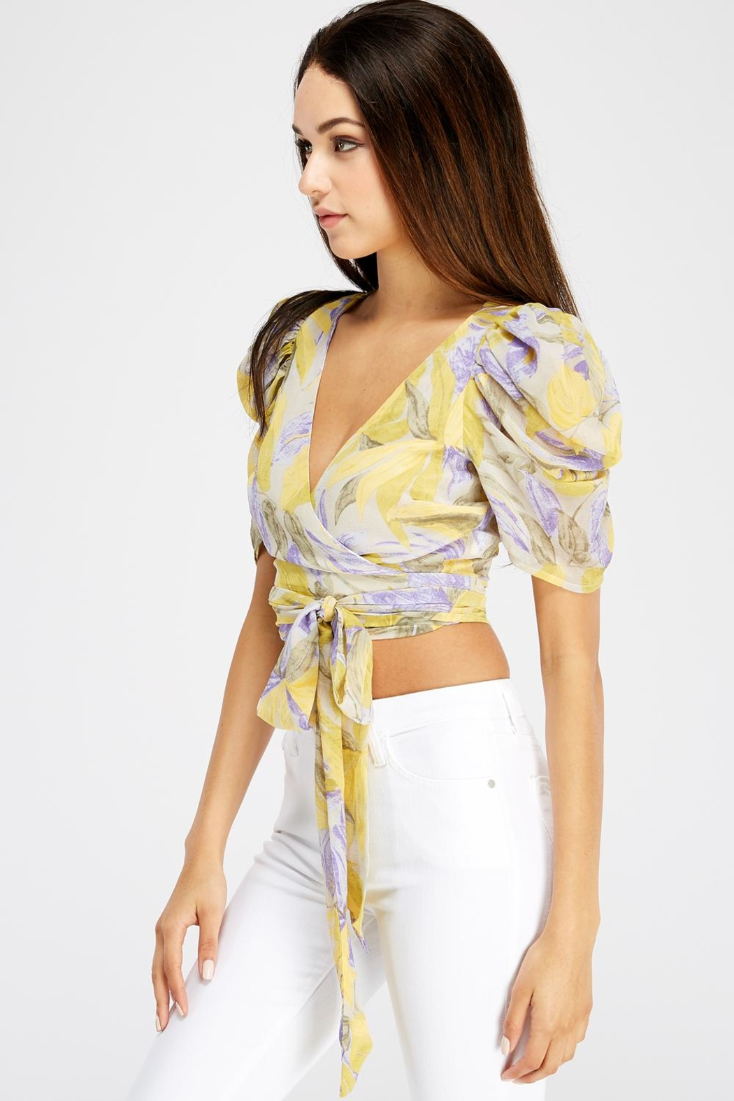 A Peach Wrap Crop Top - Front Full Image