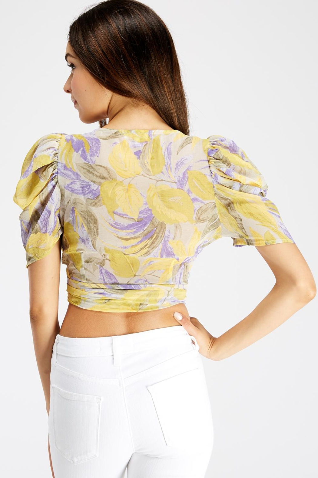 A Peach Wrap Crop Top - Side Cropped Image