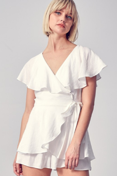Do & Be Wrap Front Ruffle Romper - Product List Image