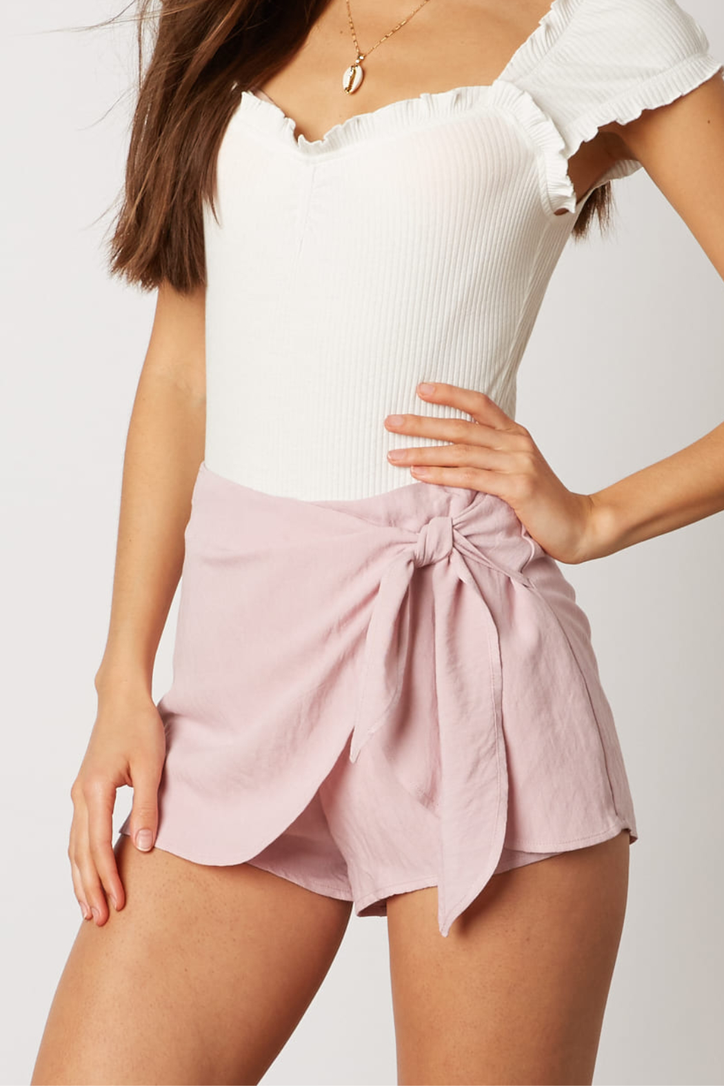 Cotton Candy Wrap Front Skort - Front Cropped Image