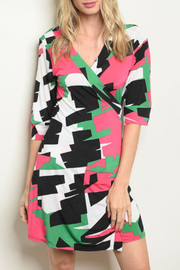 One by One Wrap Geo Dress - Product Mini Image