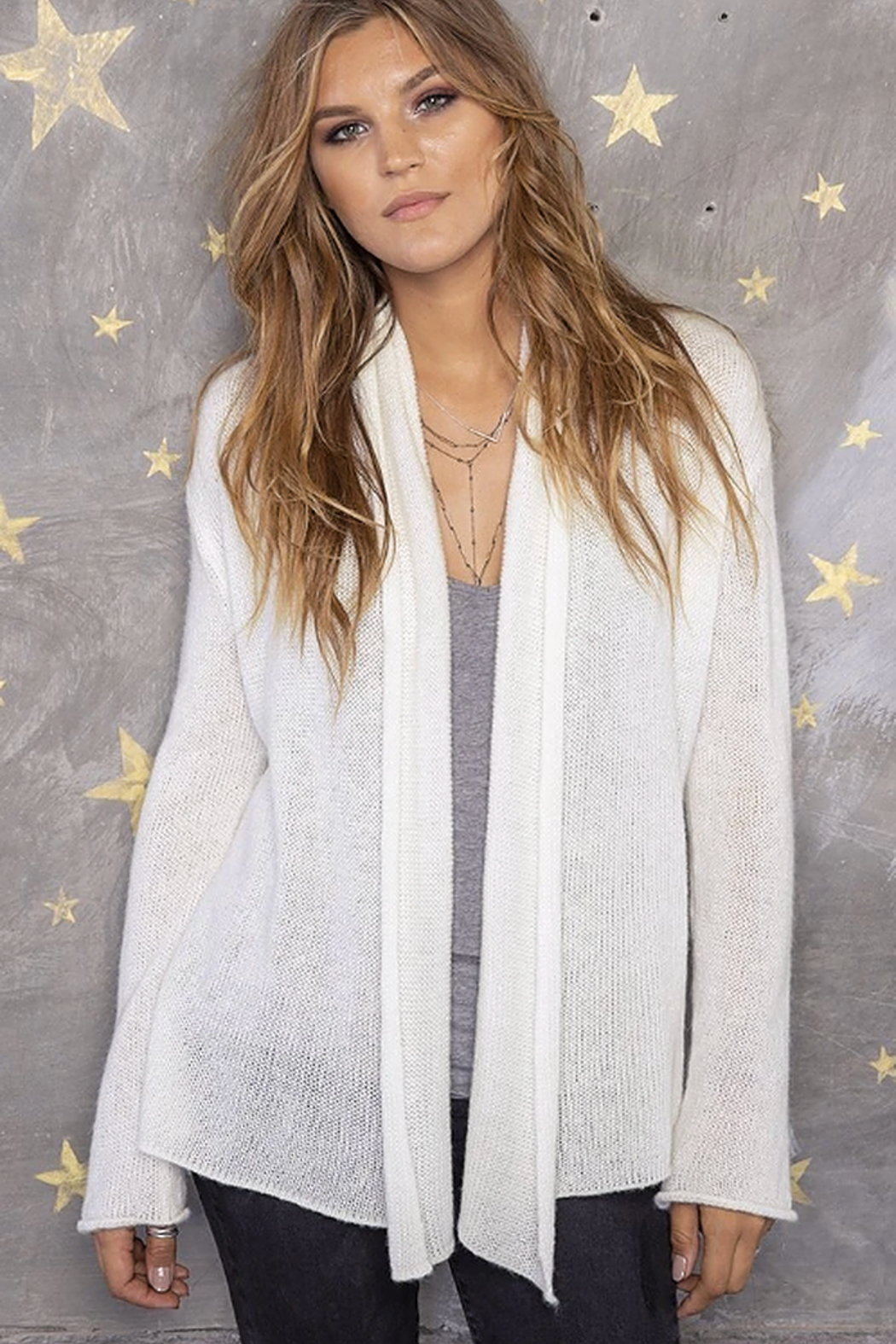 Wooden Ships Wrap Lightweight Cardigan - Side Cropped Image