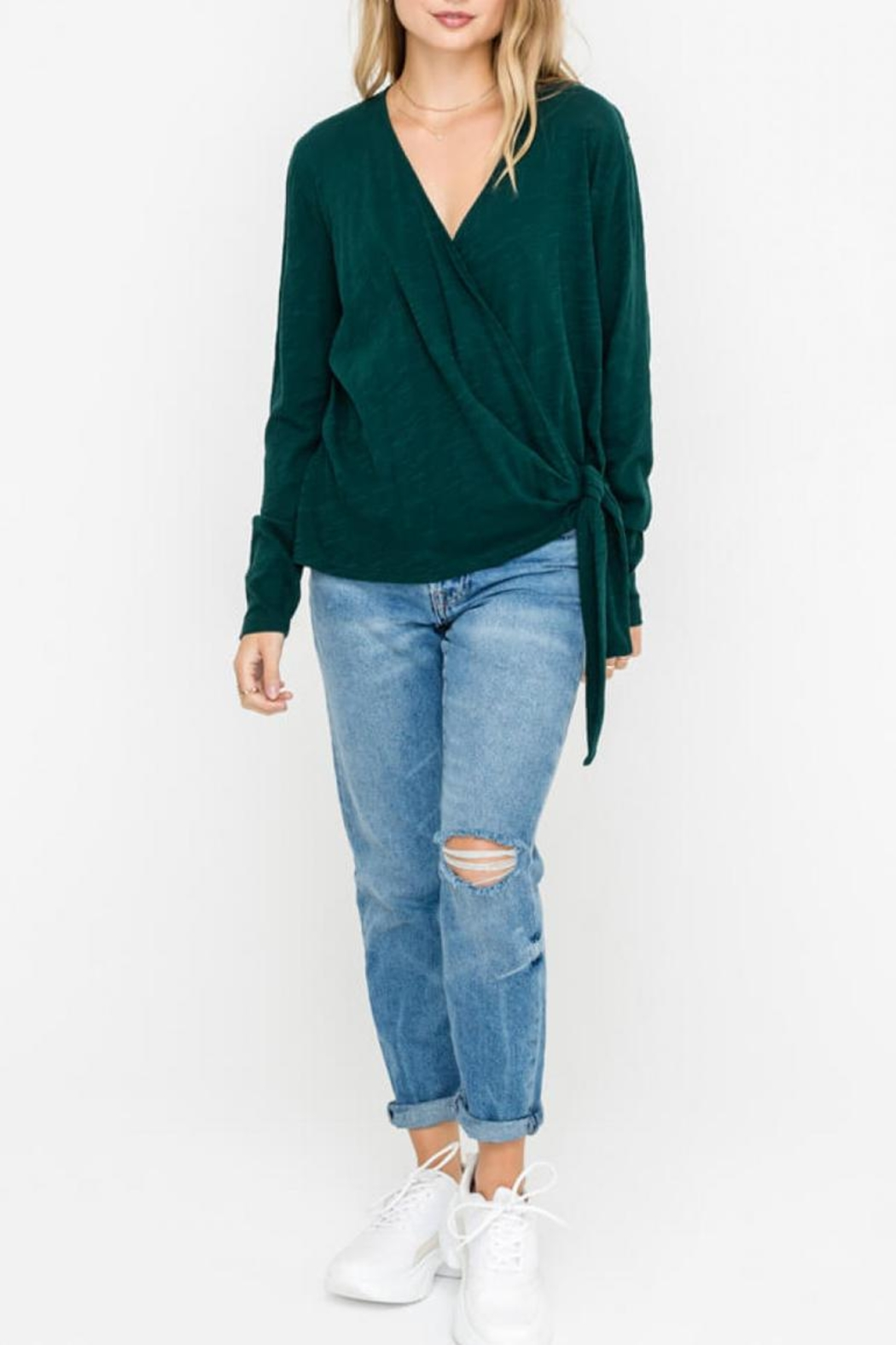 Lush Wrap-Longsleeve Top, Pine - Front Cropped Image