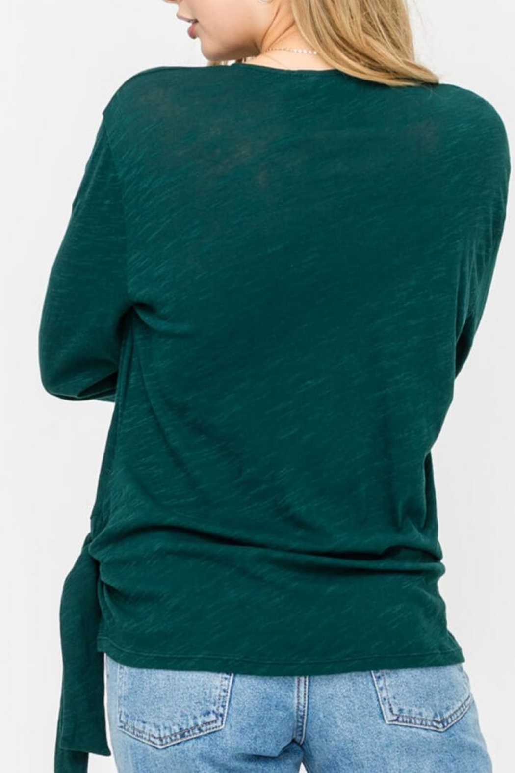 Lush Wrap-Longsleeve Top, Pine - Front Full Image
