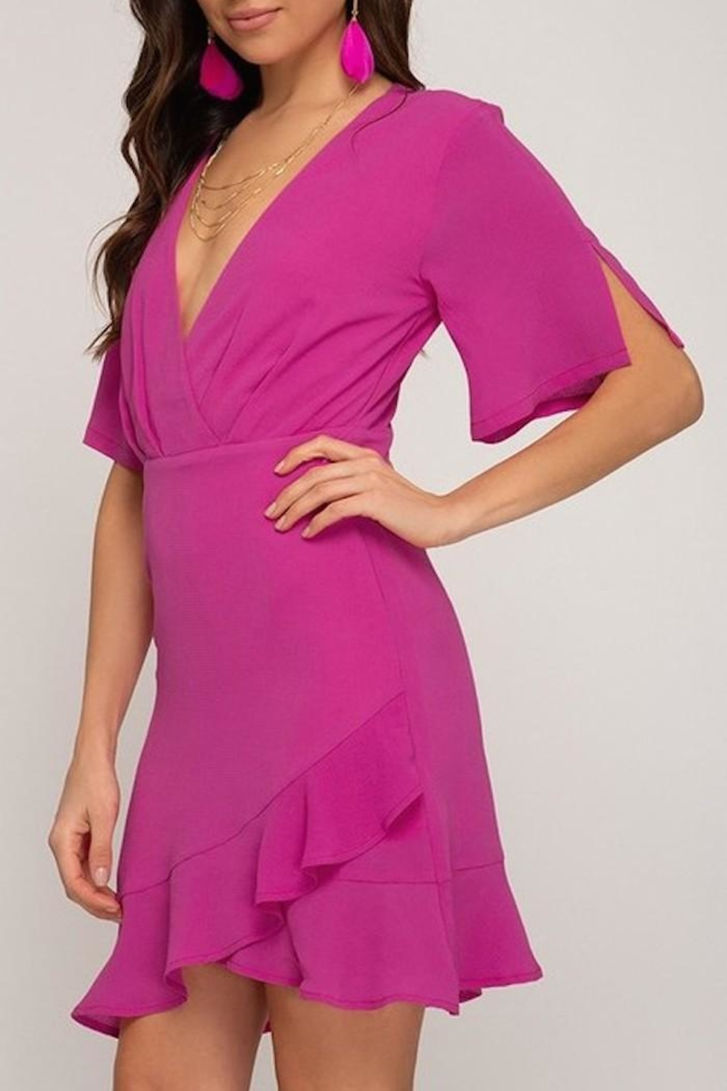 She + Sky Wrap Look Dress - Front Full Image