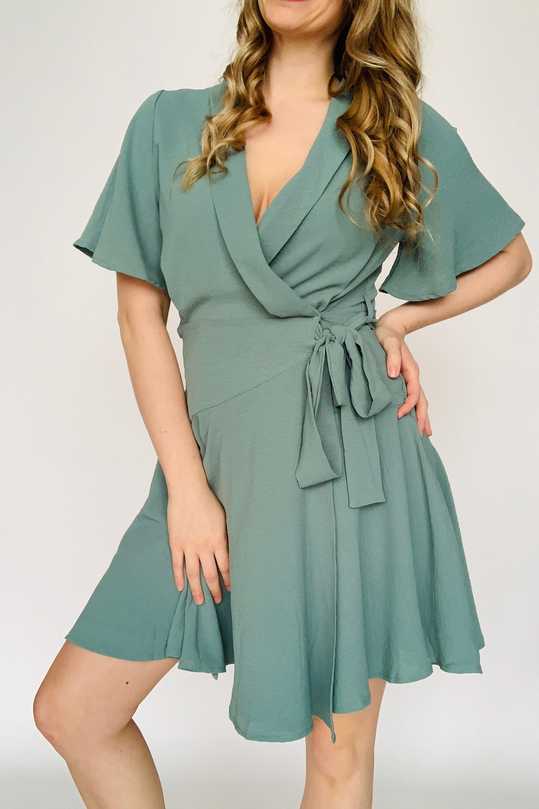 She + Sky Wrap Me Up Dress - Front Cropped Image