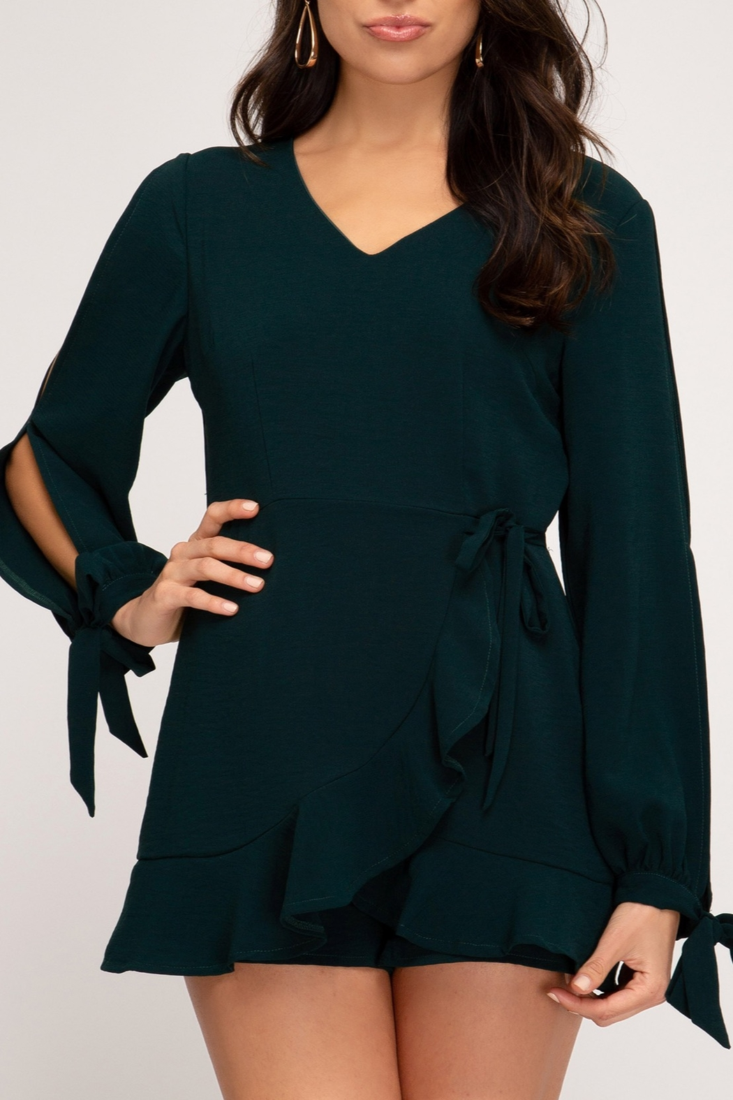She + Sky Wrap Me Up Romper - Front Cropped Image