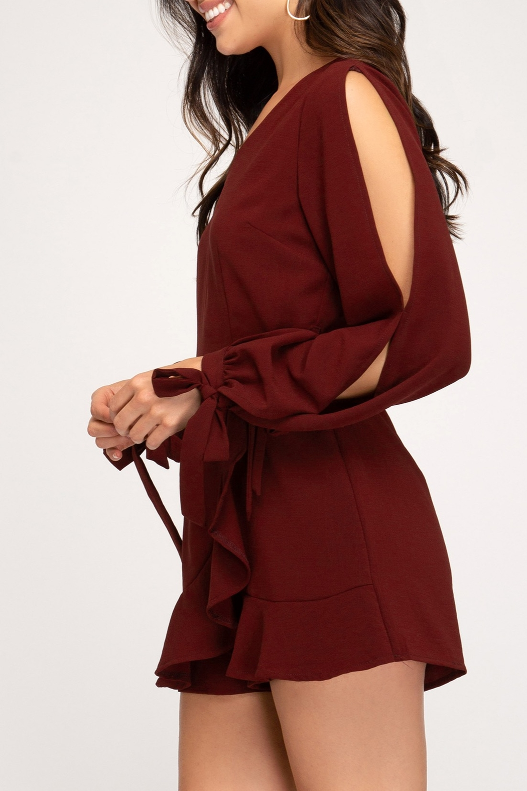 She + Sky Wrap Me Up Romper - Side Cropped Image