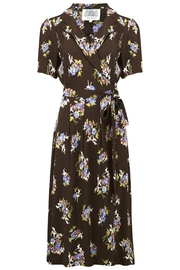 The Seamstress of Bloomsbury Wrap Ruffle Brown - Front cropped