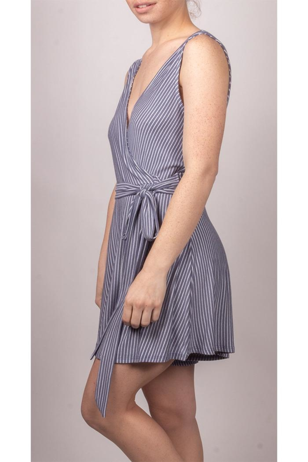 Final Touch Wrap Striped Mini-Dress - Side Cropped Image