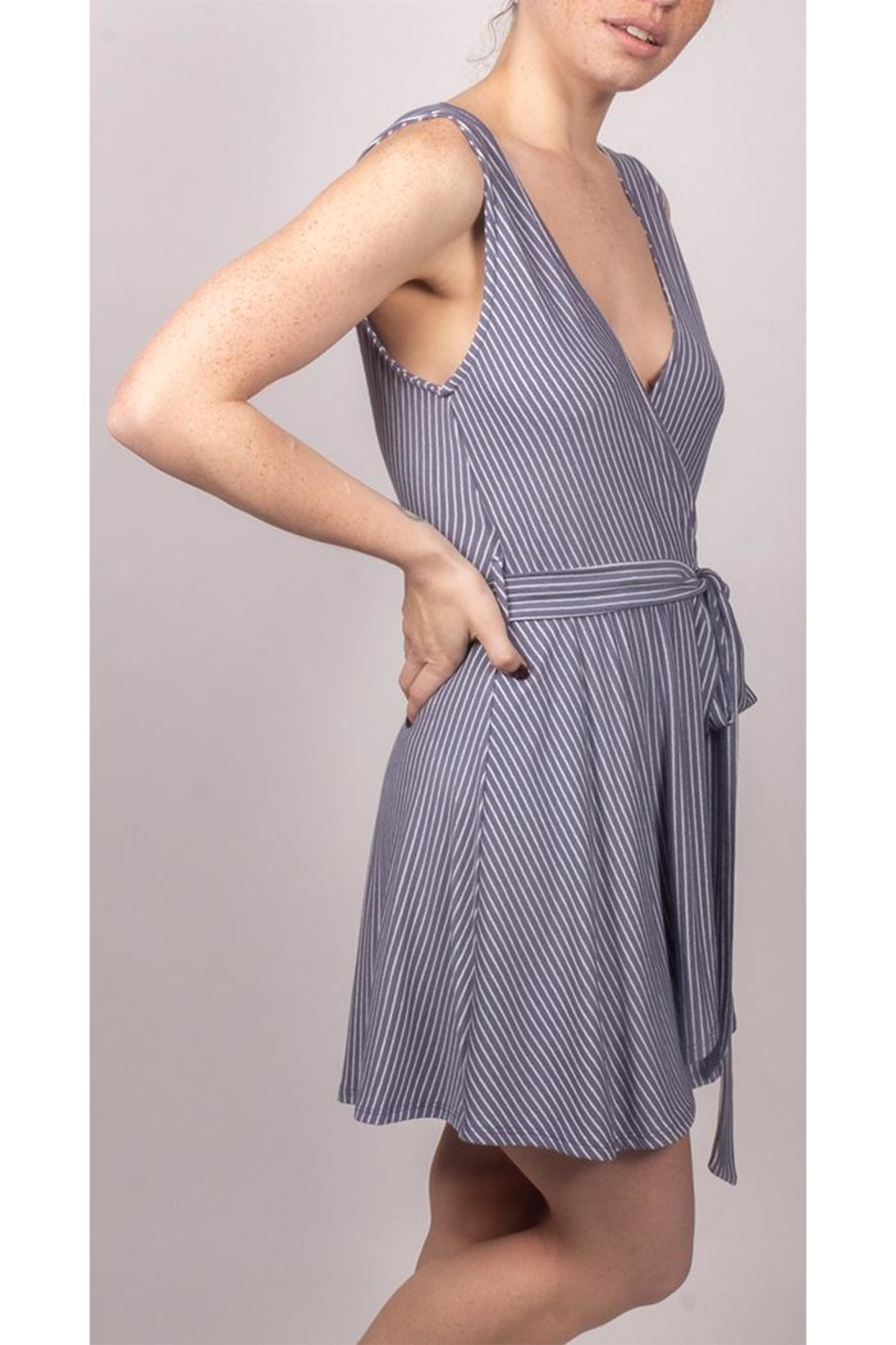Final Touch Wrap Striped Mini-Dress - Front Full Image