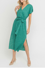Lush  Wrap Style Belted Midi Dress - Front cropped