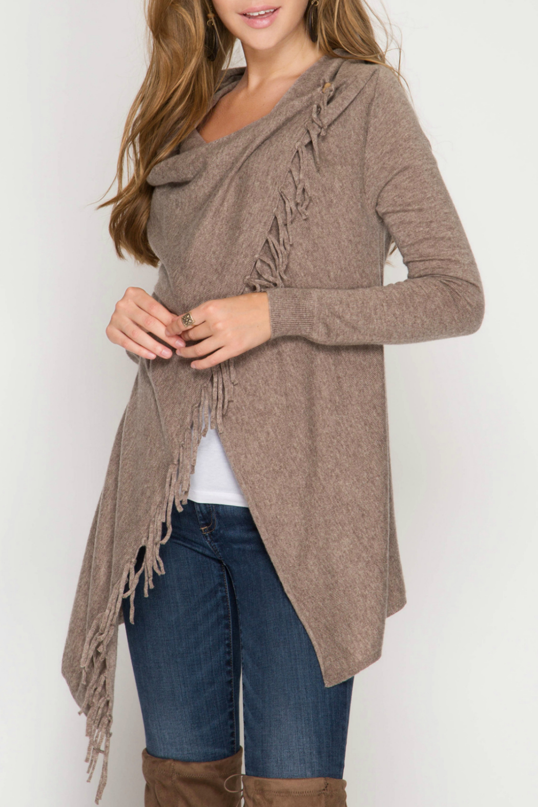 she+sky Wrap sweater cardigan with fringe - Front Cropped Image