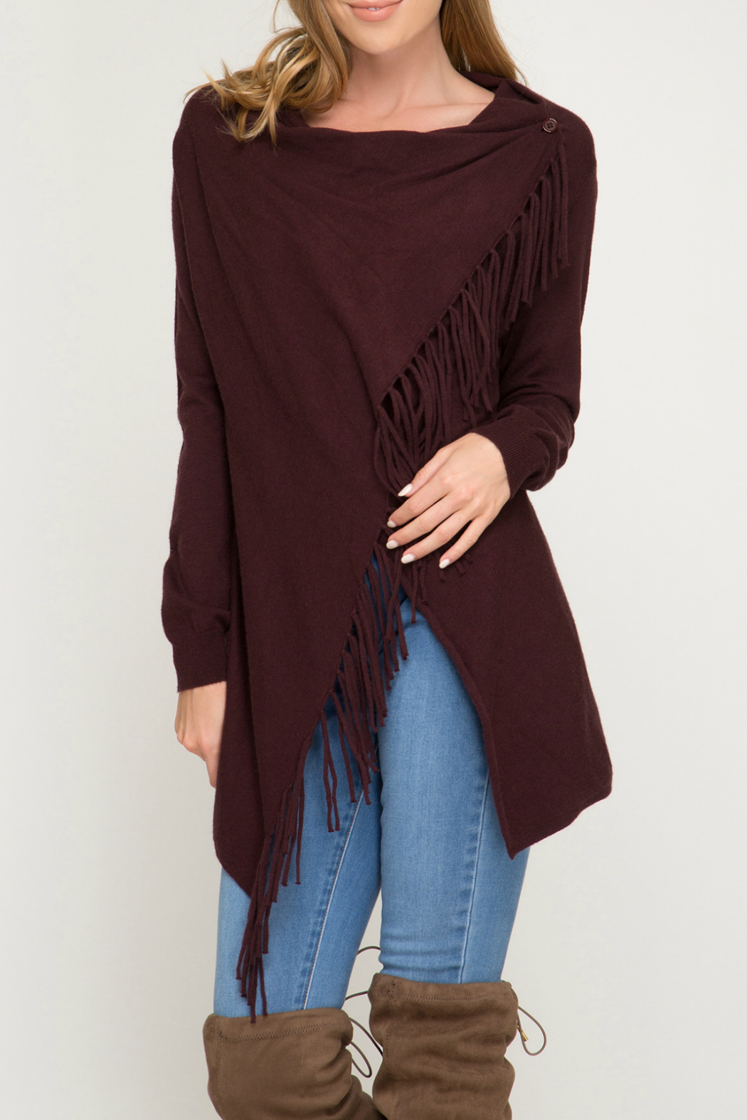 she+sky Wrap sweater cardigan with fringe - Main Image