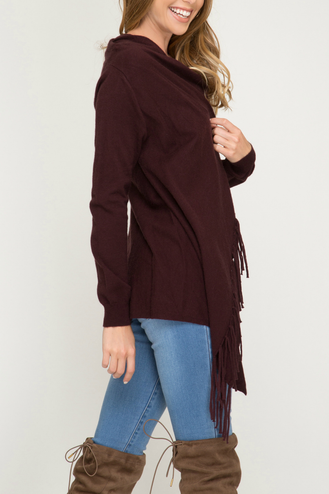 she+sky Wrap sweater cardigan with fringe - Front Full Image