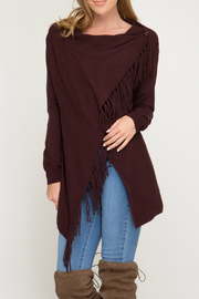 she+sky Wrap sweater cardigan with fringe - Front cropped