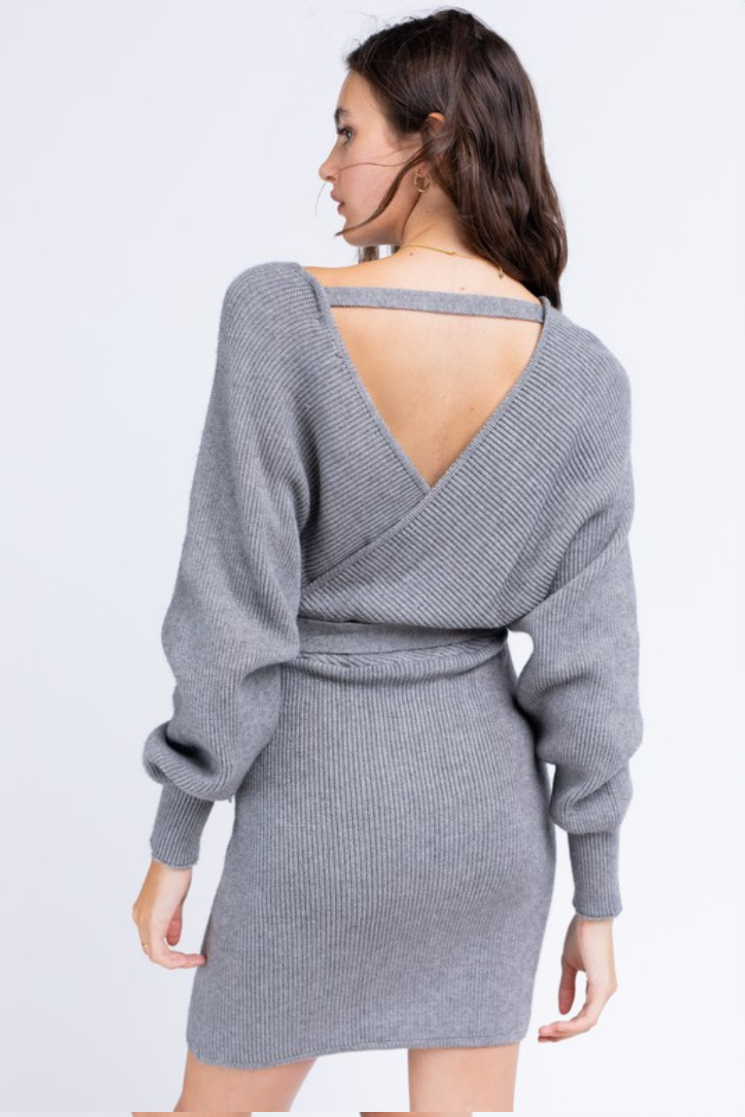 Le Lis Wrap Sweater Dress - Back Cropped Image