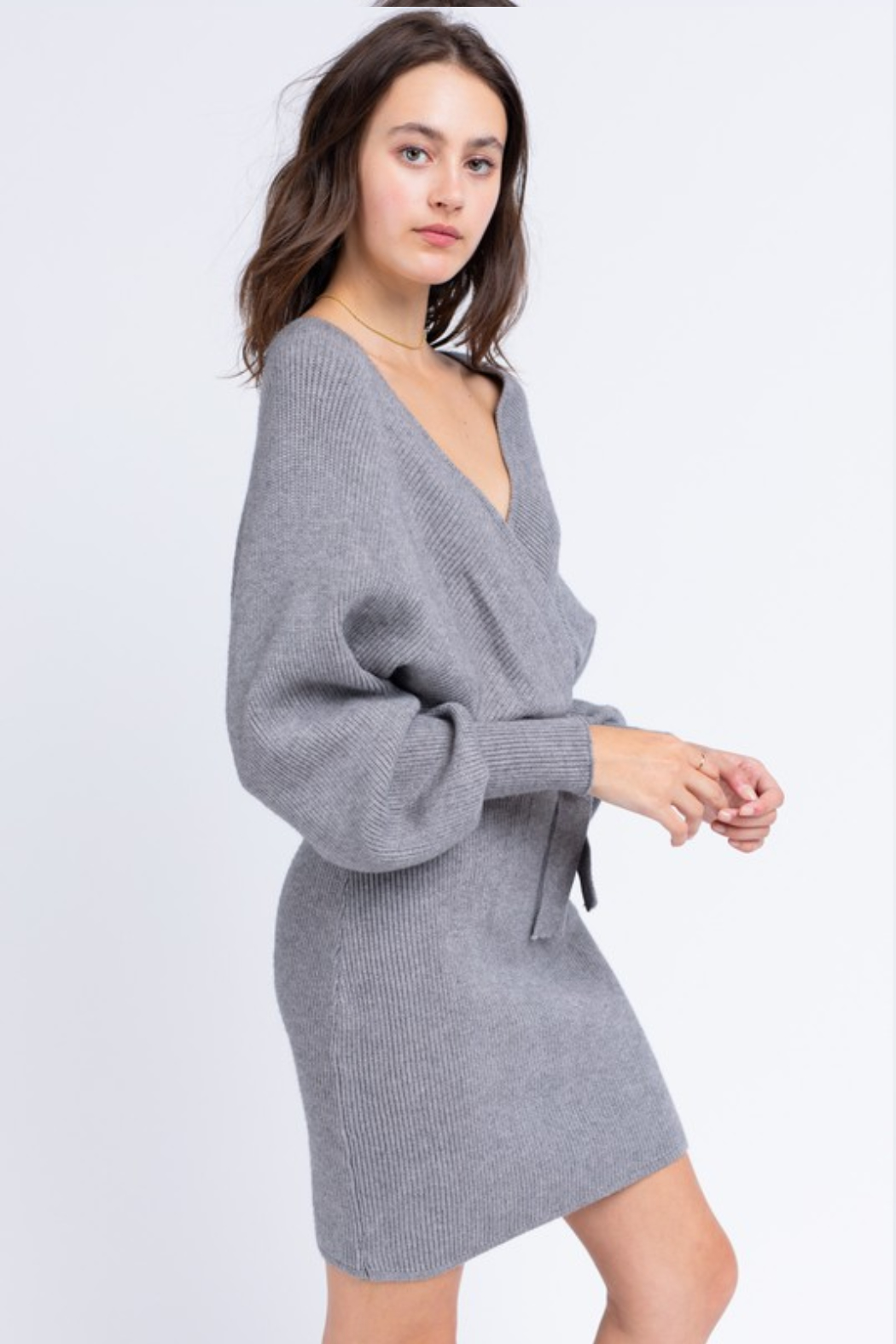 Le Lis Wrap Sweater Dress - Side Cropped Image